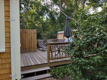 Wellfleet Cape Cod vacation rental - View of the deck entrance from the driveway.