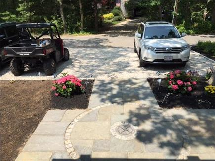 Seconsett Island, Mashpee Cape Cod vacation rental - Bluestone entryway and parking - front of house