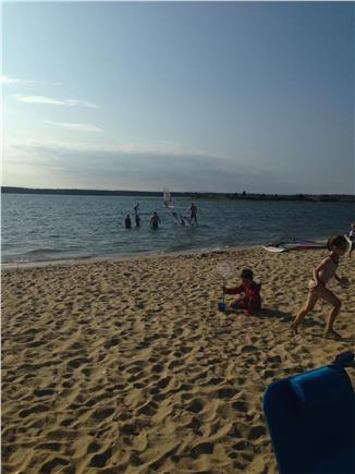 Seconsett Island, Mashpee Cape Cod vacation rental - Watching the parasails!