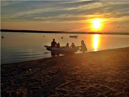 Seconsett Island, Mashpee Cape Cod vacation rental - Typical Sunset on Waquoit (our beach)