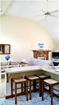 South Harwich Cape Cod vacation rental - View from kitchen of vaulted ceiling.