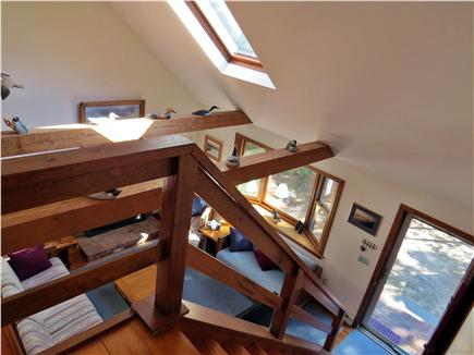 North Eastham Cape Cod vacation rental - Second Floor Looking Down to Living Room w/Gas Fireplace