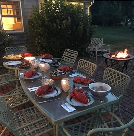 Barnstable Cape Cod vacation rental - Lobster dinner on the backyard patio!