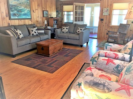 West Dennis Cape Cod vacation rental - Comfortable Living Room looking onto front porch