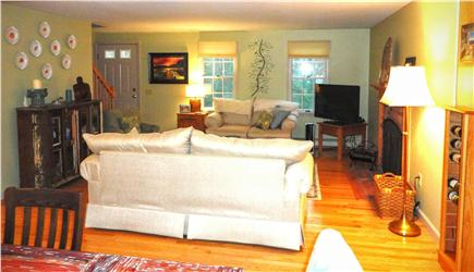 Brewster Cape Cod vacation rental - Living room with Flat screen TV,open to dinning and kitchen area