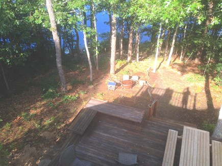 Eastham Cape Cod vacation rental - Looking out at the pond and the deck below from the upstairs deck