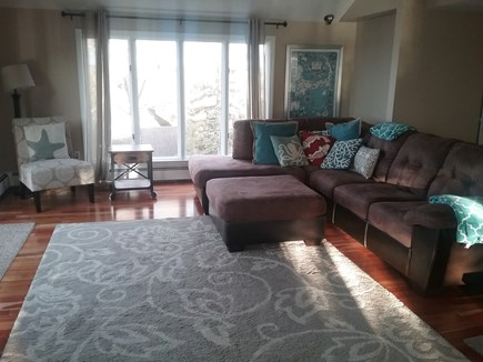 Pleasant Lake Harwich Cape Cod vacation rental - Living room with large leather sectional