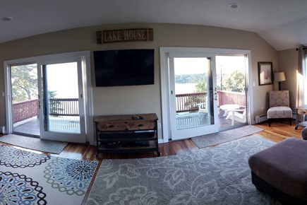 Pleasant Lake Harwich Cape Cod vacation rental - Expansive Fam Room, floor-2-ceiling windows, water view abound