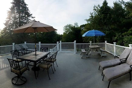 Pleasant Lake Harwich Cape Cod vacation rental - XL sunset deck w/ lounge chairs, view of 2 lakes & Weber grill