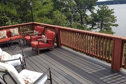 Pleasant Lake Harwich Cape Cod vacation rental - Large Back Deck overlooking Long Pond and private beach