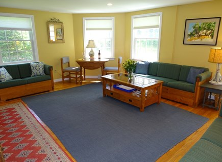 Eastham Cape Cod vacation rental - Main house living room with three couches, flat screen smart TV