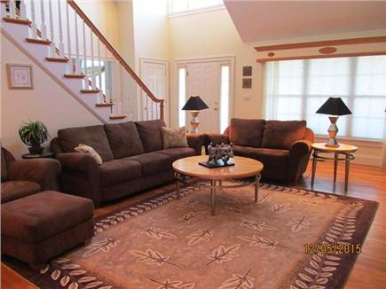 Harwich Cape Cod vacation rental - Living Room w/ staircase to upstairs
