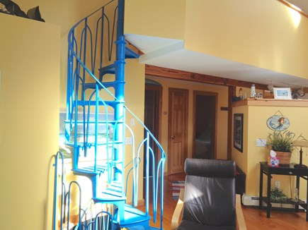 Wellfleet Cape Cod vacation rental - Spiral Staircase Leading to Upstairs Loft OR the Lower Level