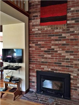 Eastham Cape Cod vacation rental - Gas fire with bricked chimney