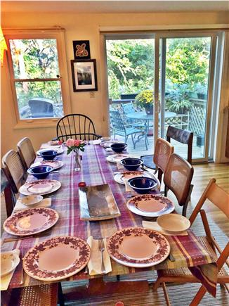 Eastham Cape Cod vacation rental - Dining room table with view over tree tops