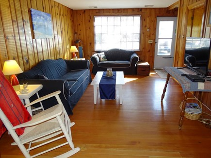 South Yarmouth Cape Cod vacation rental - First living room with flat screen TV, hardwood floors