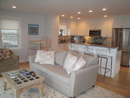 East Sandwich Cape Cod vacation rental - Living room and kitchen facing ocean