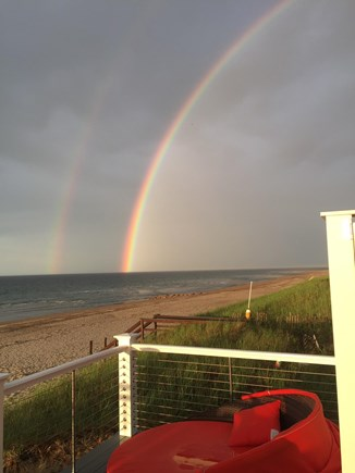 East Sandwich Cape Cod vacation rental - Double rainbows off your oceanfront deck.