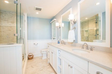 North Chatham, Half a mile to  Cape Cod vacation rental - 1st Fl Master Bath with walkin shower & his and her sinks