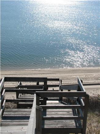North Truro Cape Cod vacation rental - Our stairs down to our private sandy beach