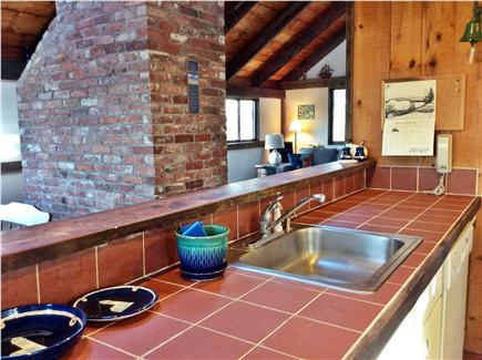 Wellfleet Cape Cod vacation rental - Kitchen looking out on cathedral ceilings and sky lights.