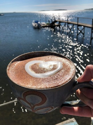 South Orleans Cape Cod vacation rental - Loving my morning coffee on the Boathouse deck