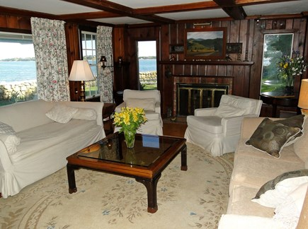 South Orleans Cape Cod vacation rental - The comfortable living room overlooking Pleasant Bay.