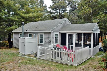 South Chatham Cape Cod vacation rental - Back yard with patio and grill and outdoor shower after beach