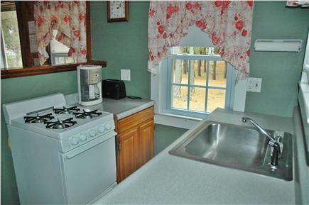 South Chatham Cape Cod vacation rental - Kitchen has gas stove for cooking and counter space for prep