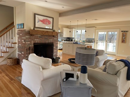Dennis Cape Cod vacation rental - Living room with one couch and two oversized chairs.