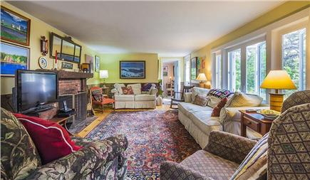 Wellfleet Cape Cod vacation rental - Living room (other view) with flat screen cable TV, fireplace.