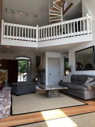 Provincetown Cape Cod vacation rental - Foyer, bridge, and spiral to loft area, pool table