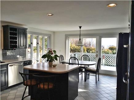Provincetown Cape Cod vacation rental - Kitchen looking out sliders to deck