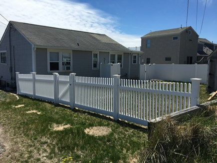 Dennis Port Cape Cod vacation rental - Fenced in backyard with new vinyl outdoor shower