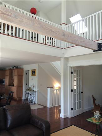 Wellfleet Cape Cod vacation rental - Looking from living to loft - sculptured cathedral ceilings