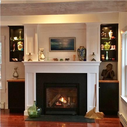 Wellfleet Cape Cod vacation rental - Gas fireplace w/custom built-in shelves & lighting