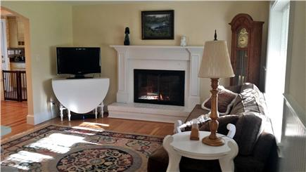 West Yarmouth Cape Cod vacation rental - Living room with gas firelace