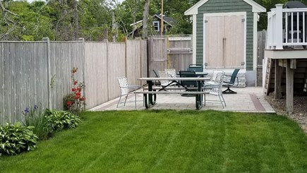 West Yarmouth Cape Cod vacation rental - Patio for family gatherings and outside shower