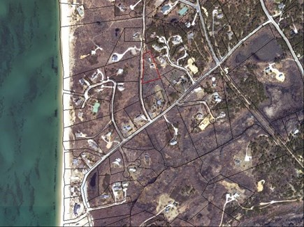 Truro Cape Cod vacation rental - House outlined RED, Beach access bottom left hand corner of pic