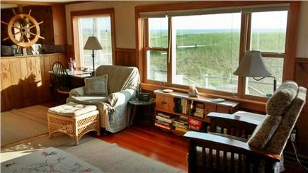 Sagamore Beach Sagamore Beach vacation rental - Living room with ocean views, cabinet with puzzles, books