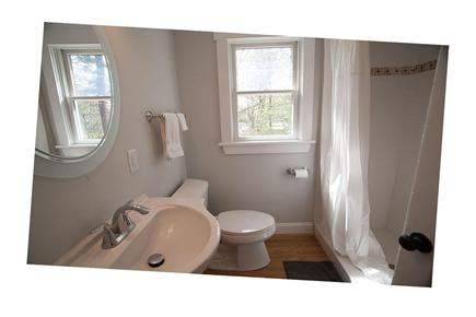 West Yarmouth Cape Cod vacation rental - Full guest bath with tiled shower and raindrop shower head.