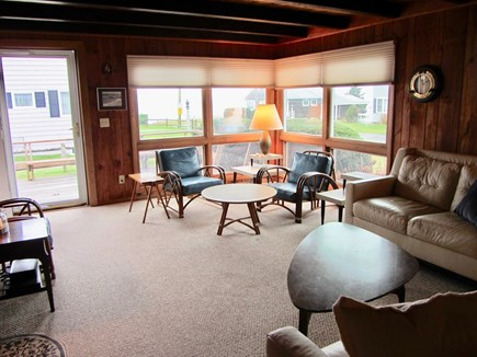 Mashpee Cape Cod vacation rental - Picture windows overlooking deck and ocean views