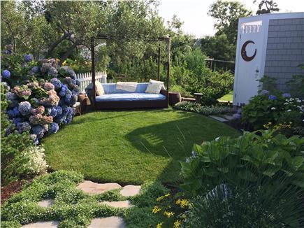 Brewster Cape Cod vacation rental - Hidden garden sofa and new outdoor shower