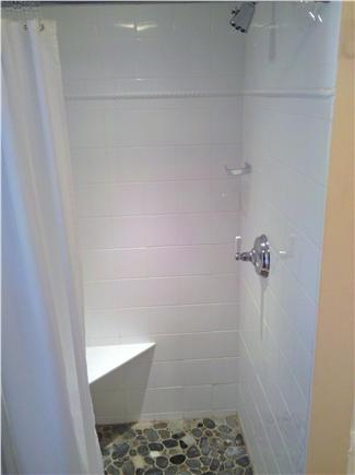 Chatham Cape Cod vacation rental - Unique Shower with flooring rocks from Pleasant Bay beach