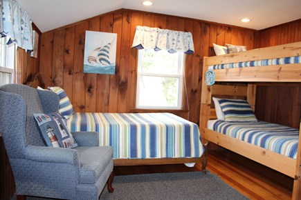 Dennis Port Cape Cod vacation rental - Upstairs bedroom #2 with bunk bed and twin bed and ocean view.