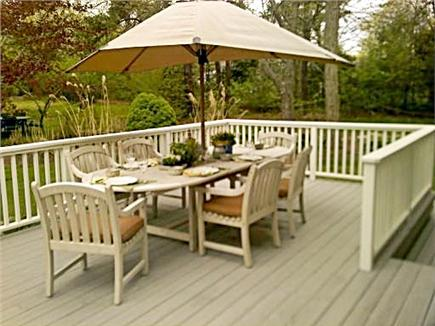 East Sandwich, MA Cape Cod vacation rental - Upper deck with lovely teak furniture.