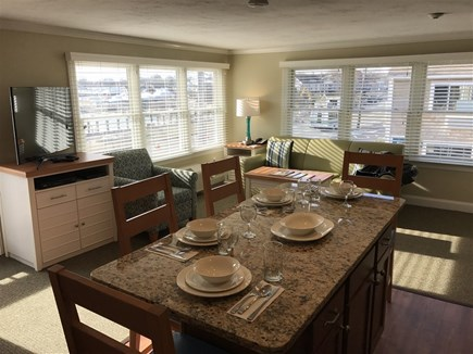 Falmouth Cape Cod vacation rental - Living-Dining area with TV and Leather Pull-out Sofa