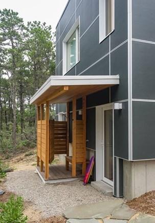 Wellfleet Cape Cod vacation rental - outdoor shower and lower level door