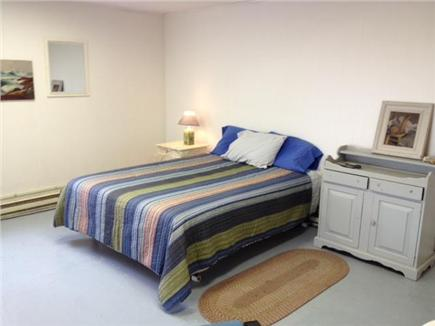 Truro Cape Cod vacation rental - Blue Bedroom lower level queen bed wild meadow view