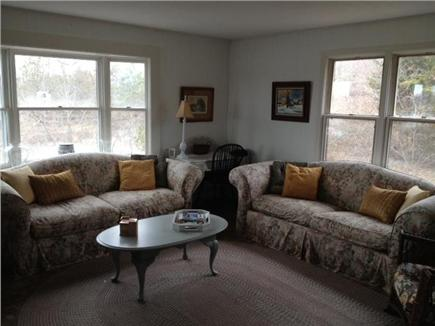 Truro Cape Cod vacation rental - Cozy living room with fireplace